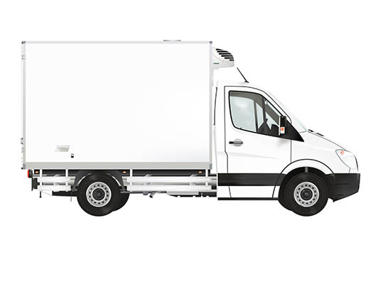 46369632 - refrigerated truck on the white background